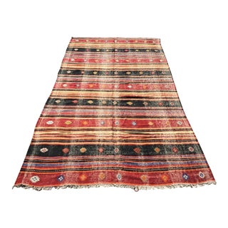 Large Rustic Turkish Kilim Rug For Sale