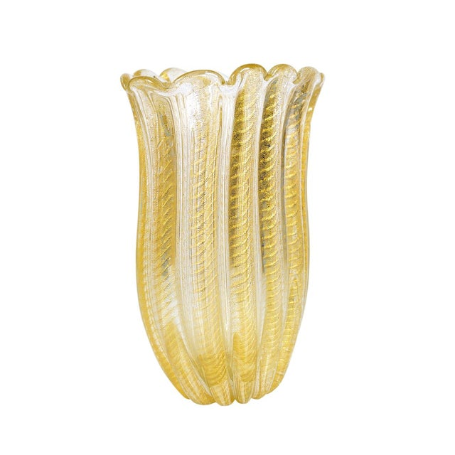 Italian Barovier Toso -Beautiful Murano Glass Vase -Cordonato Gold Flecks For Sale - Image 3 of 8