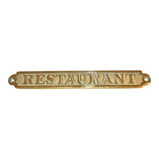 Vintage Brass Restaurant Plaque