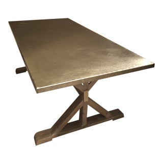 Modern Berhardt Stockton Stainless Steel Dining Table For Sale