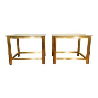 Pair Of Vintage Brass And Glass End tables