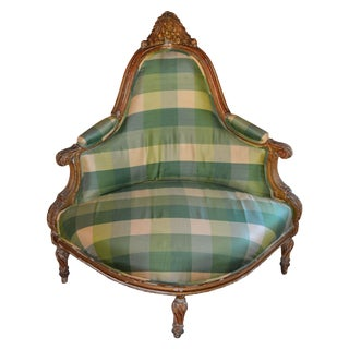 Antique Carved Corner Chair Silk Plaid Upholstery For Sale