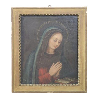 17th Century Italian Oil Painting on Canvas, Virgin Mary in Prayer For Sale