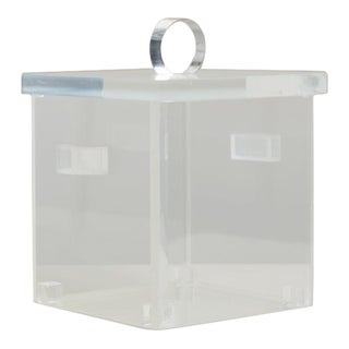 Square, Cloudy Lucite Ice Bucket with Removeable Top, 1970s For Sale
