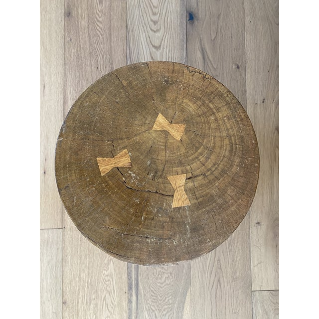 Vintage Hand-Carved Wooden Stool Side Table For Sale In Los Angeles - Image 6 of 8