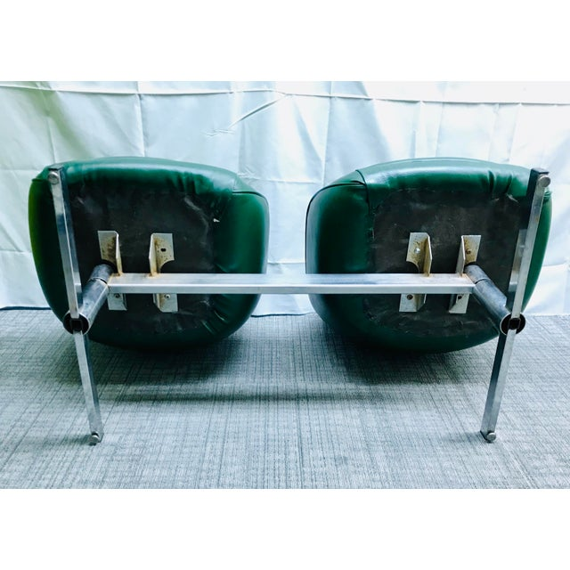 Mid-Century Modern Dark Green Leatherette Tandem Seat For Sale In Saint Louis - Image 6 of 12