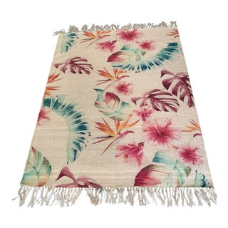 Hand Painted Tropical Leaves Cotton Rug From India- 6′2″ × 7′11″ For Sale