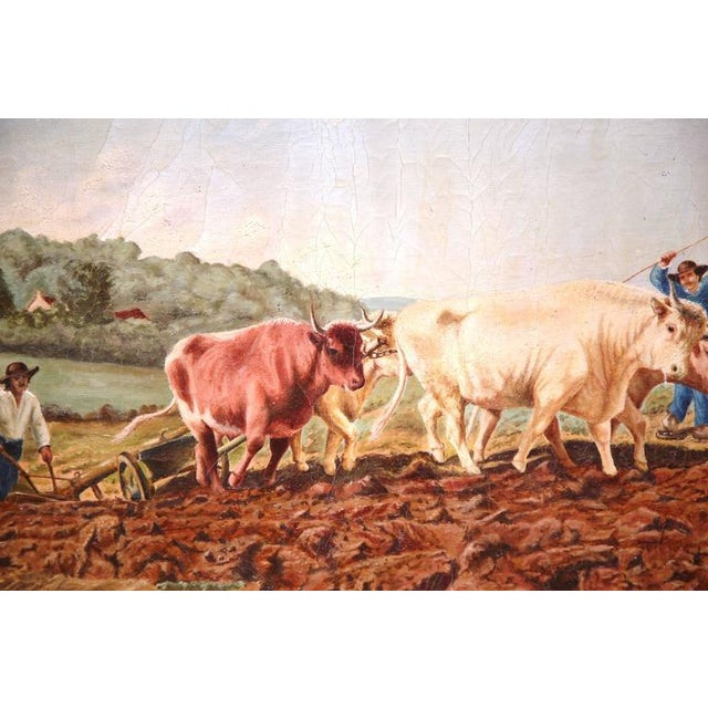Tan Early 20th Century French Oil Cows Painting in Carved Arched Gilt Frame For Sale - Image 8 of 10