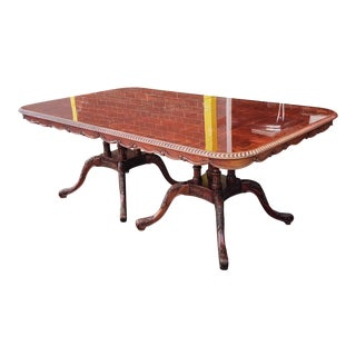 1990s Mahogany Double Pedestal Roped Edge Chippendale Dining Room Table W/ 2 Leaves For Sale