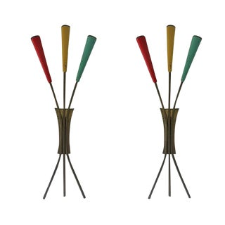 20th Century Italian Stilnovo Tricolor Sconces - a Pair For Sale
