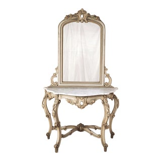 19th Century Italian Hand Painted Console and Mirror With Cararra Marble For Sale