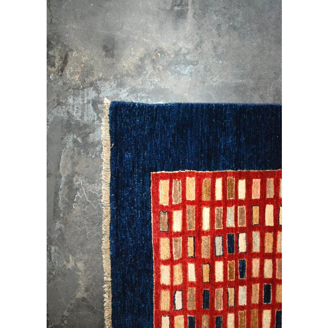 Chobi Hand-Knotted Wool Geometric Navy Rug 6x9 For Sale In Los Angeles - Image 6 of 7