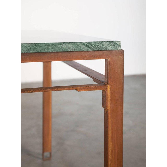 Not Yet Made - Made To Order Contemporary Oxidized Steel and Emerald Green Marble Top Squares Table For Sale - Image 5 of 6