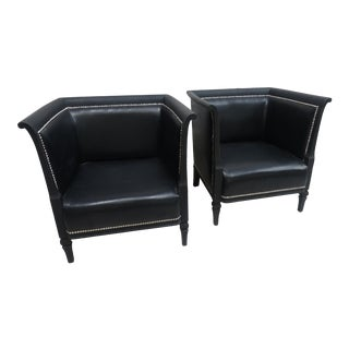 Swedish Art Nouveau Style Black Chairs - a Pair For Sale