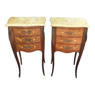 French Marble-Top Side Tables - a Pair For Sale