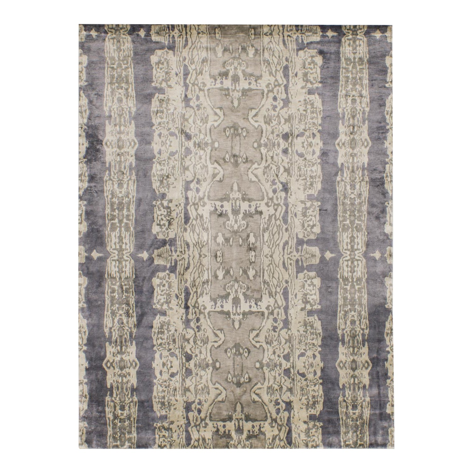 Solo Rugs Grit And Ground Collection Contemporary Electro Fusion Silk Hand Knotted Area Rug Silver 10 X 14 Chairish