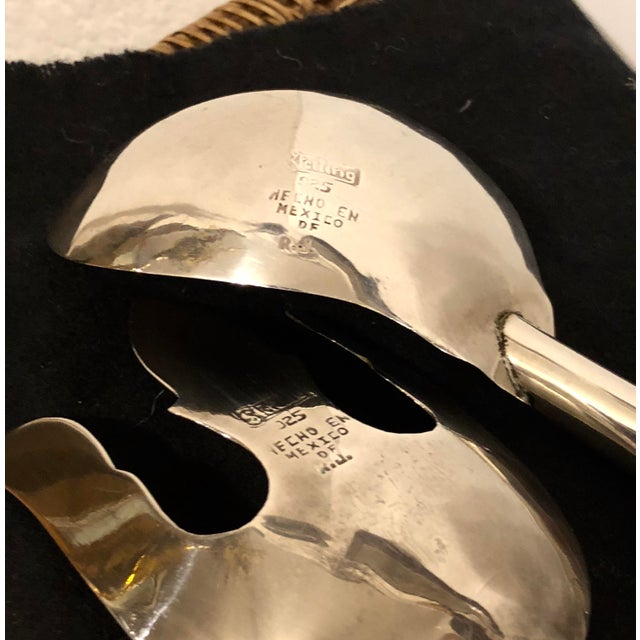 Mexican Silver & Walnut Salad Servers - A Pair For Sale - Image 5 of 6
