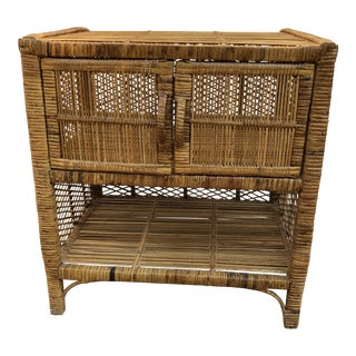 1960s Boho Chic Rattan Side Table For Sale