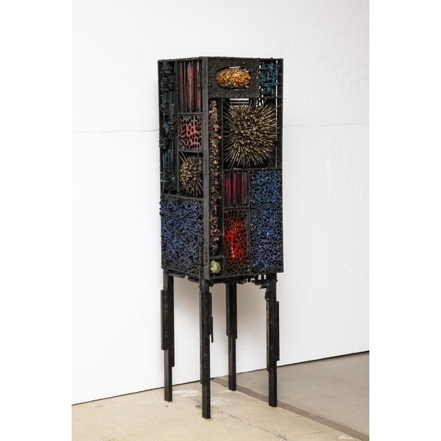 """James Bearden """"Segment Cabinet"""" in Polychromed and Bronzed Steel For Sale - Image 13 of 13"""