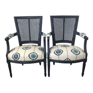 Vintage Regency Style Cane Back Arm Chairs - a Pair