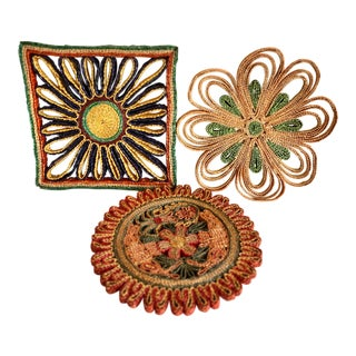 Vintage Boho Woven Hot Pads, Set of Three For Sale