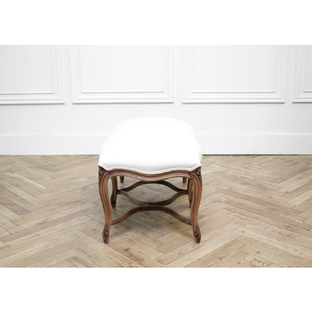 Mid 20th Century Mid 20th Century Antique French Louis XV Style Bench Upholstered in Irish Linen For Sale - Image 5 of 12