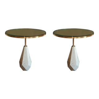 Mid-Century Modern Italian Round Coffee Tables in White Marble & Brass - a Pair For Sale