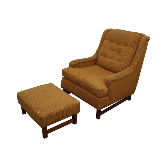 Mid-Century Walnut Frame Lounge Chair And Ottoman - Image 1 of 10