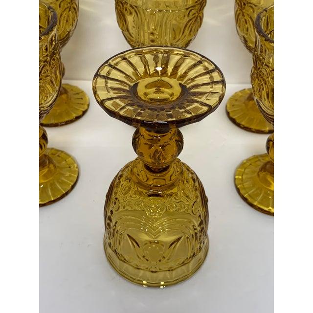 Vintage 1940's Amber Glass Goblets - Set of 6 For Sale - Image 11 of 13