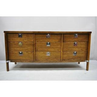 Vintage Mid Century Modern Walnut & Chrome 9 Drawer Credenza Dresser With Mirror Preview