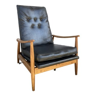 Milo Baughman Black Leather + Wood Recliner For Sale