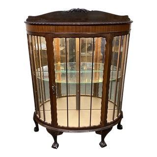 Mid 20th Century Demilune Curio Cabinet For Sale