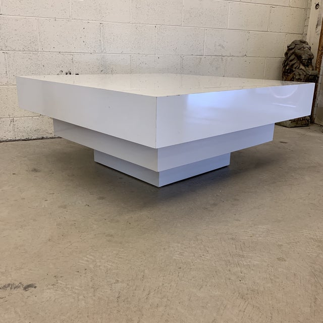 White Contemporary Modern Tiered White Gloss Coffee Table For Sale - Image 8 of 10