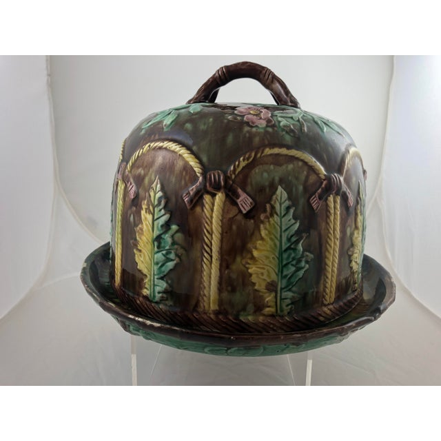 Majolica Leaf Cheese Dome For Sale In Austin - Image 6 of 7