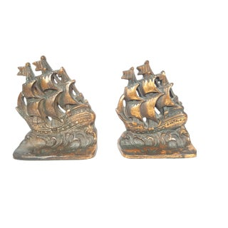 1940 Vintage Bronze Sailing Ship Bookends - a Pair For Sale