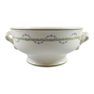 French Longwy Handled Serving Bowl For Sale