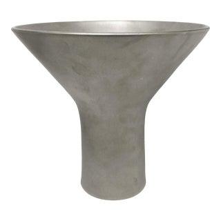 Wide Splayed Mouth Ceramic Vase in Burnished Platinum Luster by Sandi Fellman For Sale