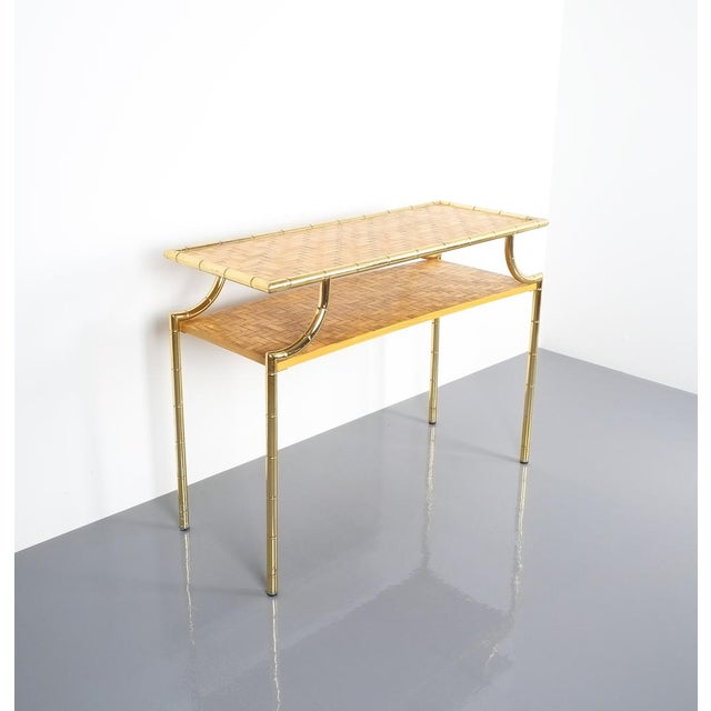 Bamboo Brass Console Table and Mirror, Italy 1950 For Sale - Image 6 of 13