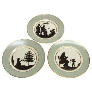Three Royal Copenhagen Hans Christian Andersen Fairy Tale Silhouette Plates For Sale