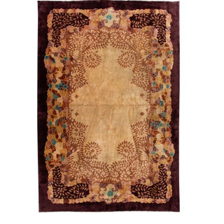 Antique Goldenrod Art Deco Chinese Wool Rug 10 Ft 9 in X 16 Ft 6 In. For Sale
