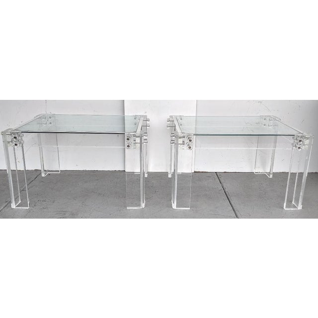 Mid-Century Modern Lucite Side/Cocktail Tables With Glass Tops - a Pair For Sale - Image 4 of 12