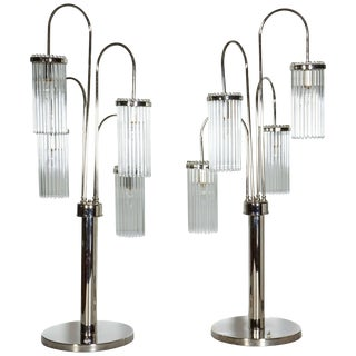 Modernist Tall Polished Nickel and Glass Rod Table Lamps - a Pair For Sale