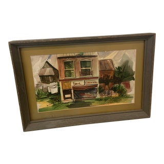 """1970 """"Soul Grocery"""" Architectural Watercolor Painting, Framed For Sale"""