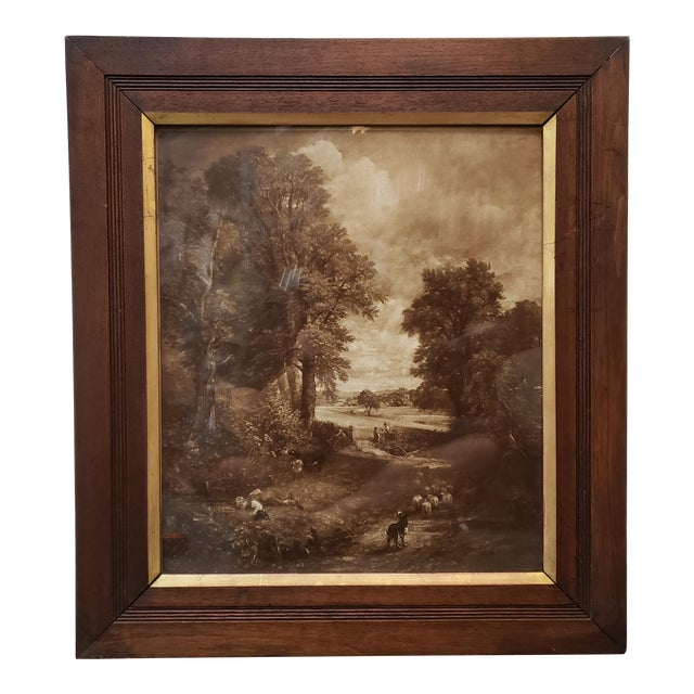 "Circa 1890 Victorian ""The Cornfield"" by John Constable Print by the Autotype Company Set in a Gilt Mahogany Frame (London) For Sale"