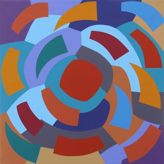 """""""Joy Is in You"""" Contemporary Geometric Hard Edge Acrylic Painting by Sassoon Kosian For Sale"""