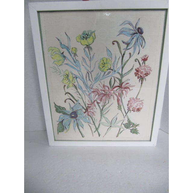 1960s Vintage Acrylic Flower Painting For Sale - Image 5 of 7