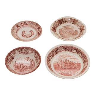 Vintage Red & White Transferware Plates - Set of 4 For Sale