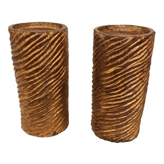 Contemporary Column Textured Candle Holders - a Pair For Sale