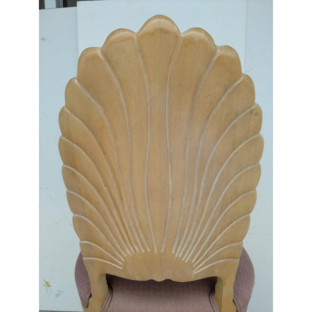 Tan Vintage Hand-Carved Shell Backed Side Chair For Sale - Image 8 of 9