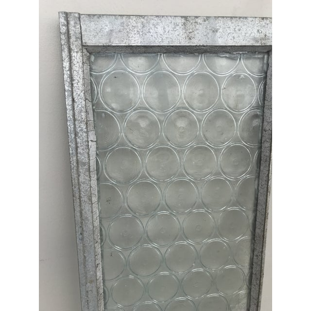 Metal Vintage Bottle Glass Windows-A Pair For Sale - Image 7 of 13